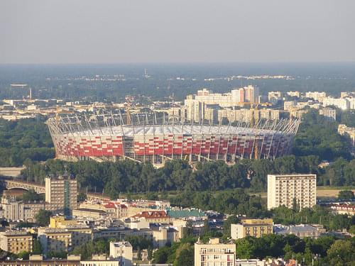 National Stadium in Warsaw: general view from the west