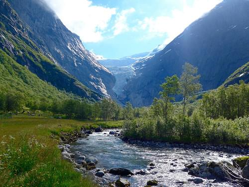 View up to Briksdal Glacier, Olden, Norway