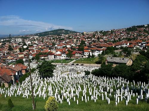 Martyrs Memorial Cemetery Kovači - view from Yellow Bastion