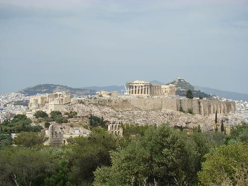 view of the Athenian Acropolis from the Pnyx