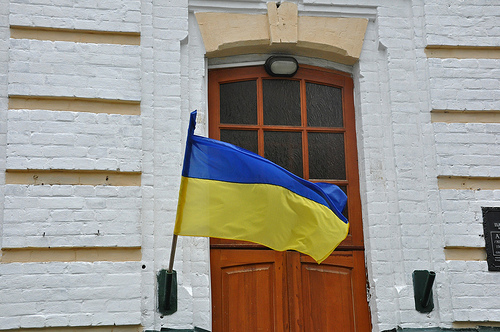 Ukrainian flag flying next to St. Nicholas's Church