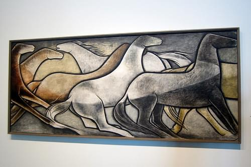Denver - Civic Center: Denver Art Museum - Frank Mechau's Wild Horses (1 panel of 6)