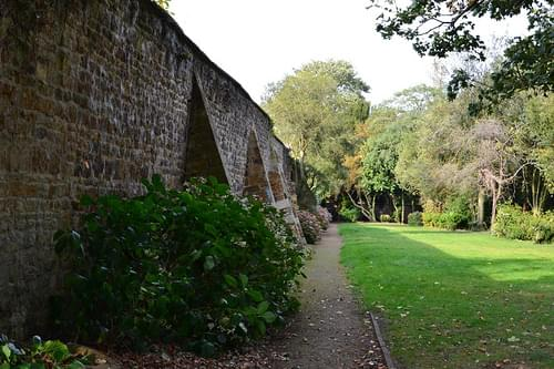 Leaning wall, Delapre Abbey, Northampton