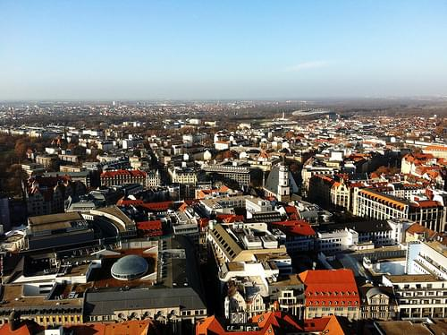 bird's eye view of Leipzig city