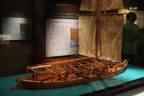 Side view of model of USS Philadelphia gunboat - Smithsonian Museum of Natural History - 2012-05-15