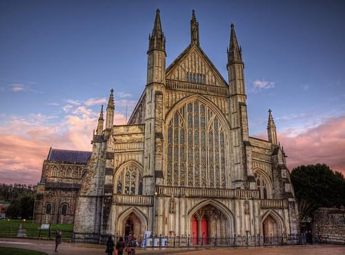 Winchester Cathedral in Sunset light