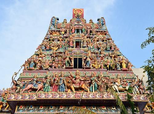 Roof of Sri Veeramakaliamman temple in Singapore