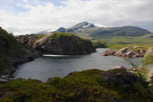 Stora sjöfallet National park (Digital painting)