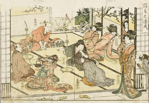Customer Entertained in the Yoshiwara LACMA M.2006.136.37a-b