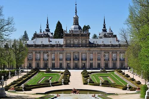 Façade méridionale, palais royal de La Granja de San Ildefonso, province de Ségovie, Castille-Leon, Espagne.