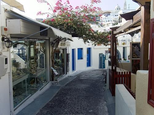 Commercial street in Thira (Santorini, Greece)