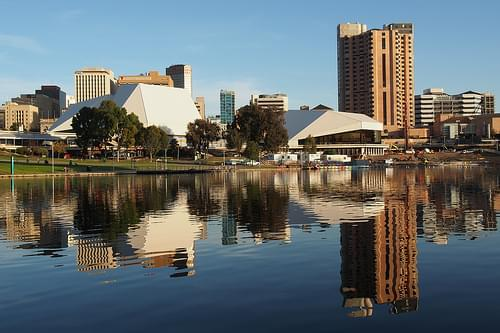 Adelaide skyline from the River Torrens north bank (May 7, 2013)
