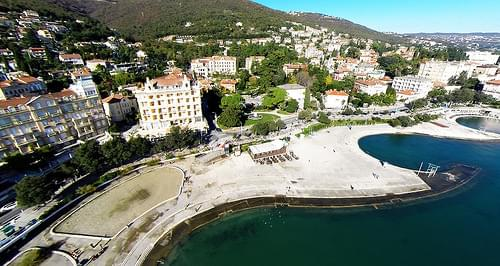 Beach Slatina in town Opatija at sea, sandpits, Croatia