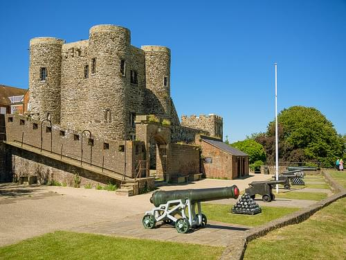 A battery of cannons guards the 14th century Ypres Tower in Rye, East Sussex