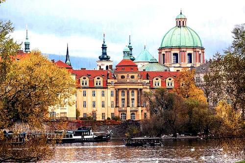 Vitava River scene & St. Francis Church dome, Prague