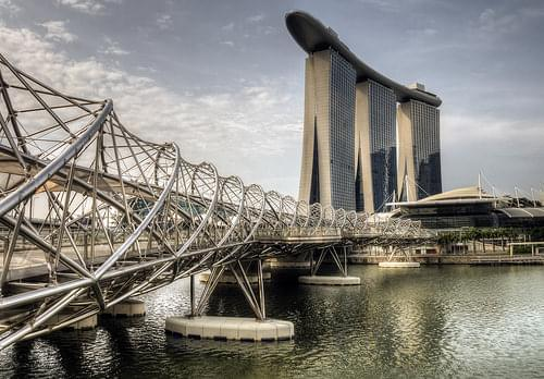 The Helix Bridge and the Sands, Singapore