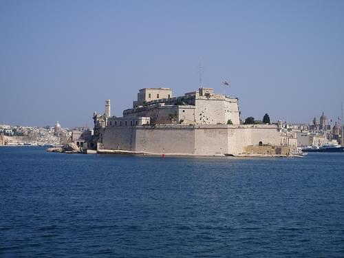 View of Fort St Angelo, Vittoriosa from Grand Harbour, Valletta - Malta