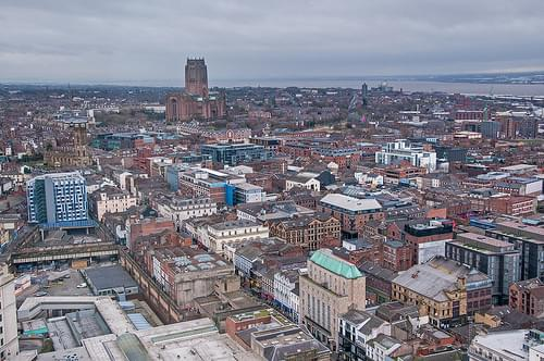 Liverpool cityscape view towards Liverpool Cathedral