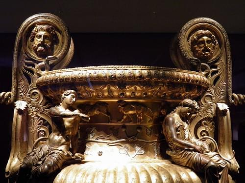 The Derveni krater, late 4th century B.C., a youthful Dionysos with an exhausted maenad seating on the shoulders of the vase, Archaeological Museum, Thessaloniki, Greece
