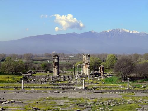 View on the forum and the basilica B with Pangaion Hills in the background, Philippi