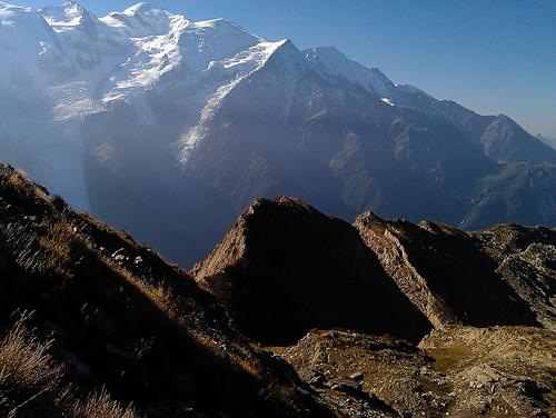 Running the TMB route - looking back to Mont Blanc