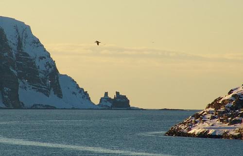 Holy rock of the Sami people Finnkirka Kjollefjord Nordkinnhalvøya Finnmark Norway.