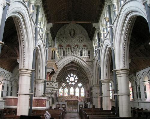 The nave facing east, the Church of Christ the Consoler, Skelton-on-Ure, North Yorkshire, England