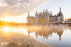 Misty sunrise on Chateau de Chambord