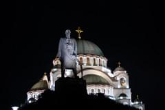 Statue of Karageorge Petrovitch by night