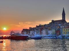 Harbor sunset - Rovinj, Croatia - HDR