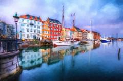 Nyhavn at blue hour, painted