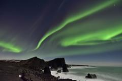 Northern Lights over Reykjanes Peninsula Sea Stacks, Iceland
