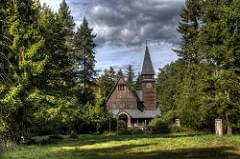 Wooden church from a distance